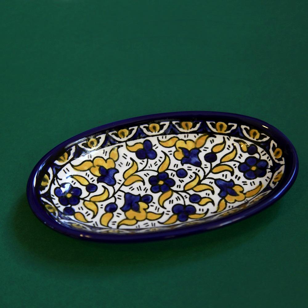 Ovalt keramikkfat, gult og blått