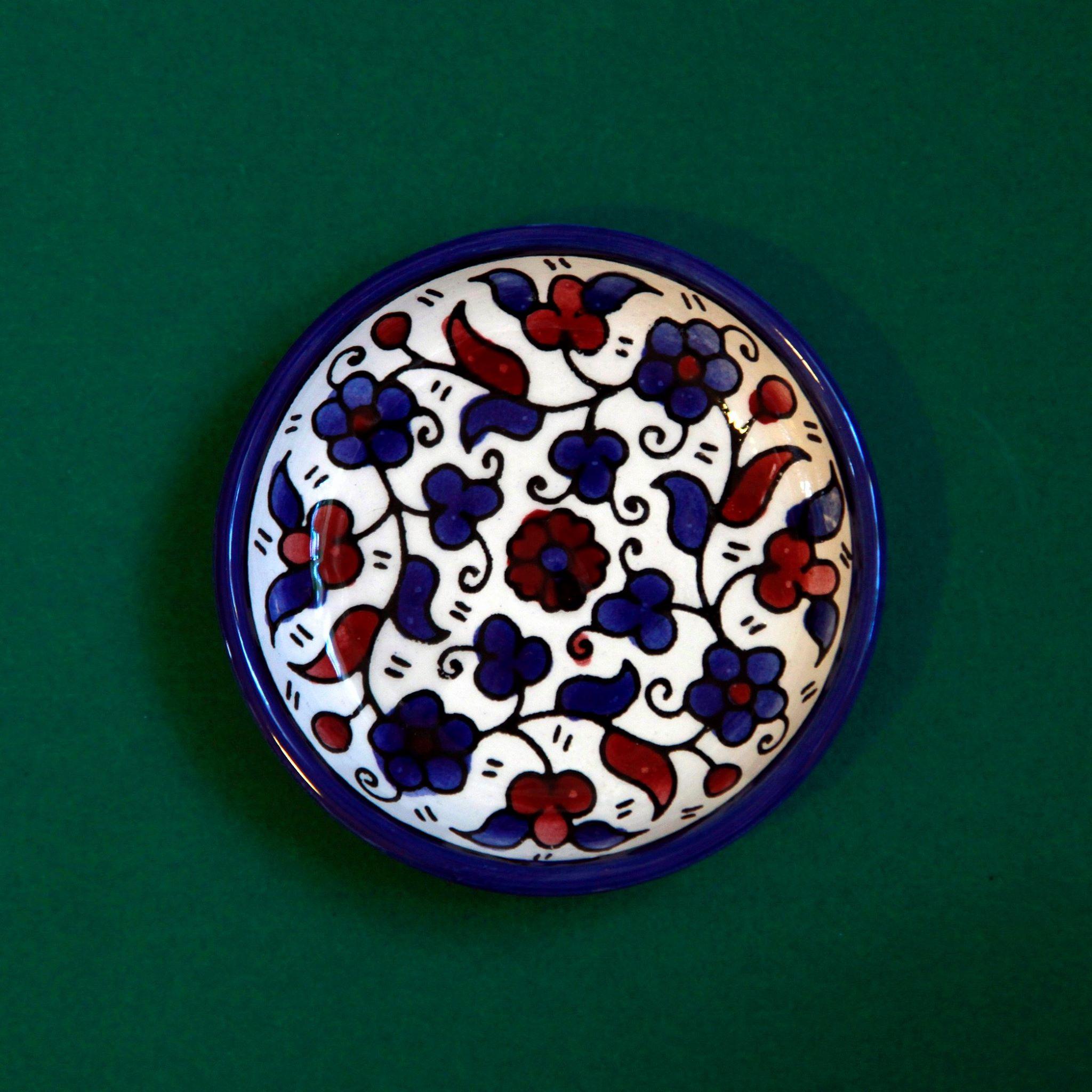 Mini keramikkskål, blå og brun