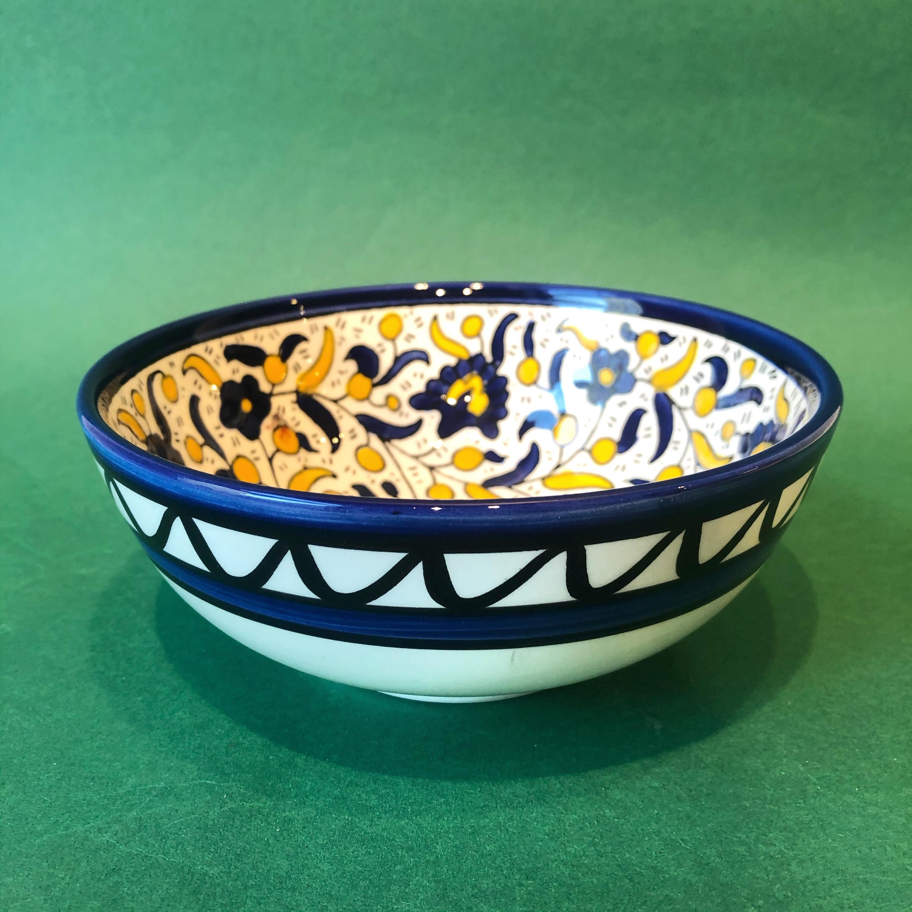 Mellomstor keramikkskål, blå og gul
