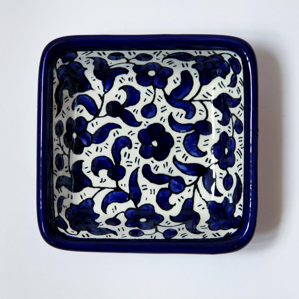 Kvadratisk keramikkskål, blå