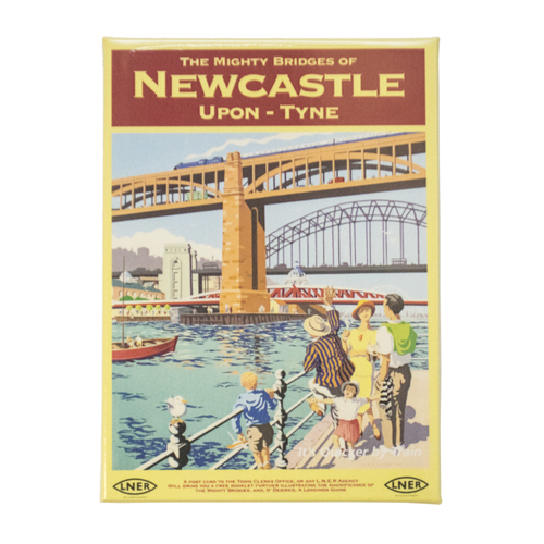 Mighty Bridges of Newcastle Railway Poster Premium Magnet