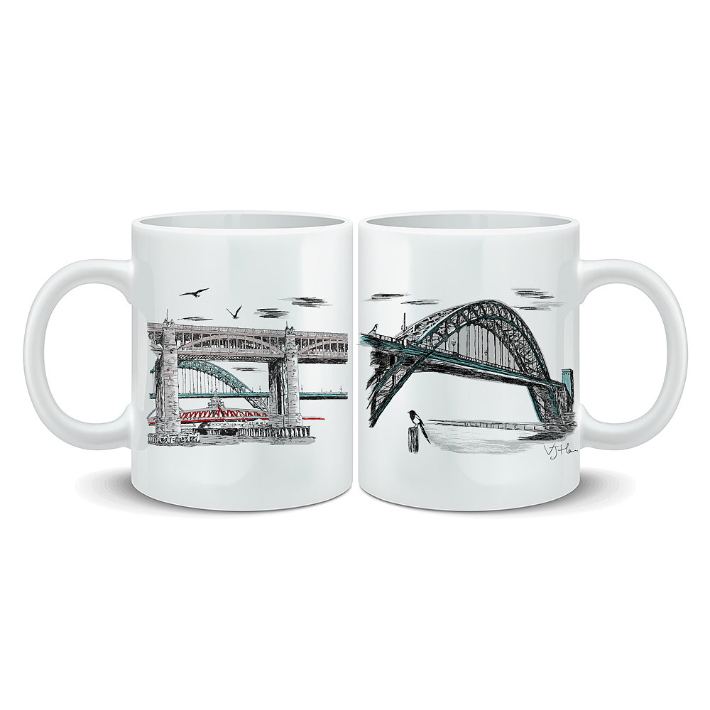 Tyne Bridges Illustrated Mug