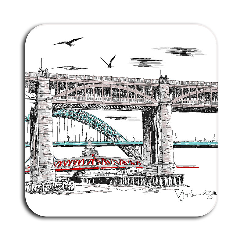 Tyne Bridges Illustrated Coaster