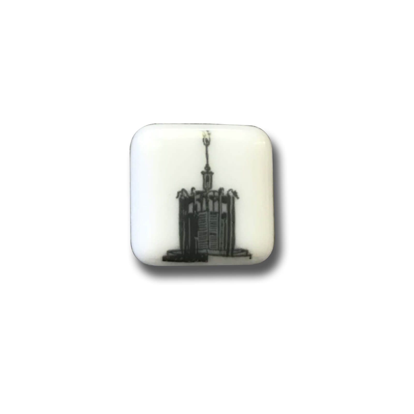 Civic Centre Glass Brooch