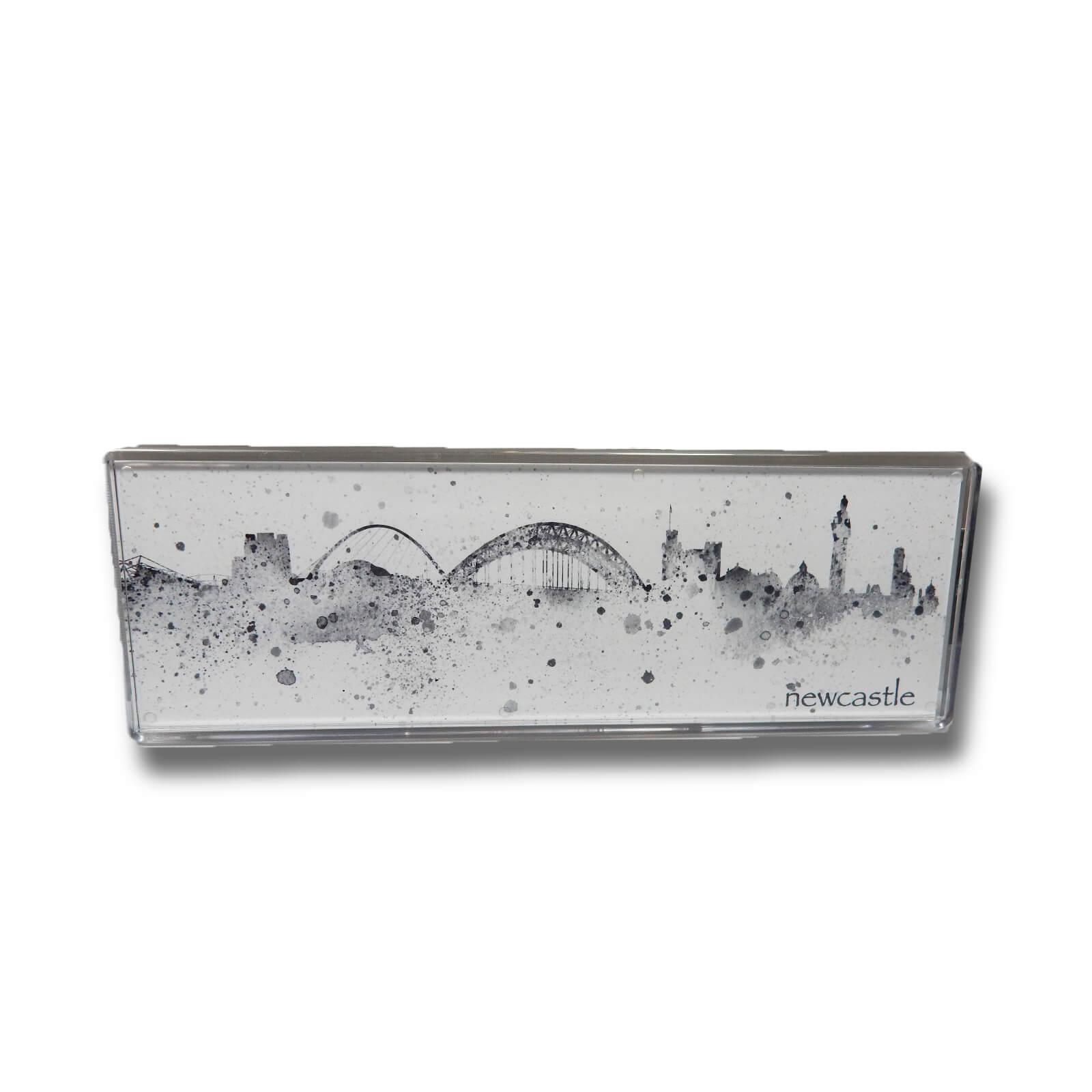 Newcastle Skyline Black & White Illustrated Panoramic Magnet