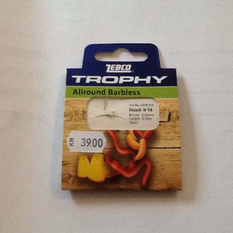 Zebco trophy allround barbless hook-to-nylon #14