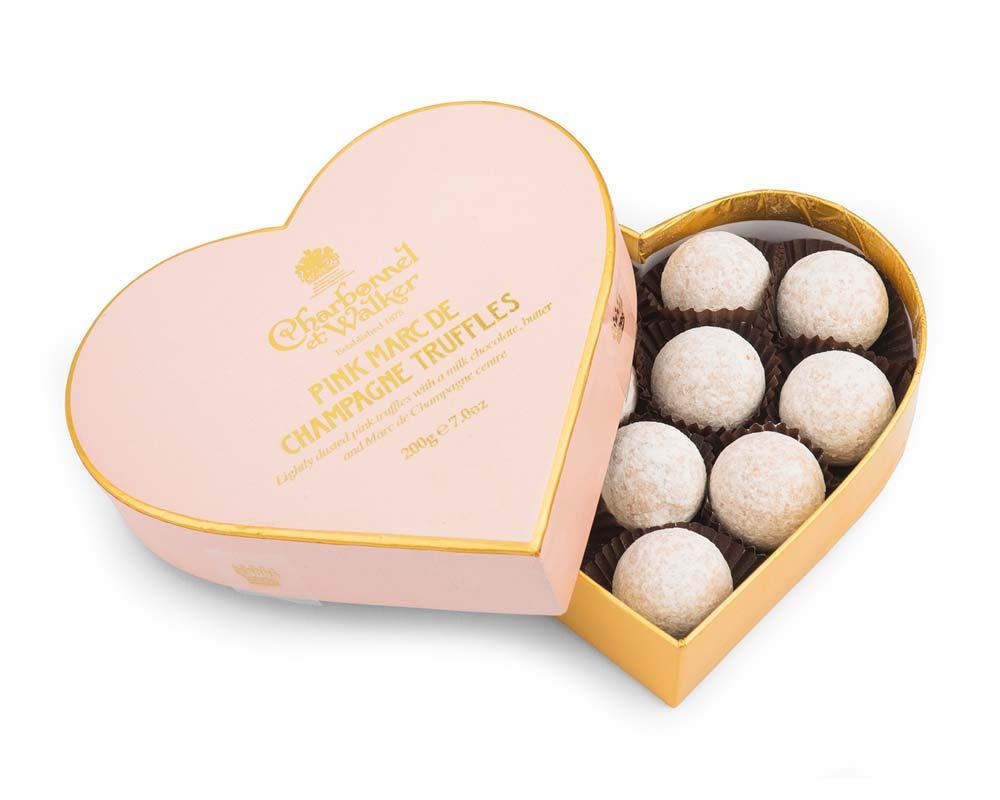 CHARBONNEL ET WALKER - Pink Mark de Champagne HEART truffles, 200g