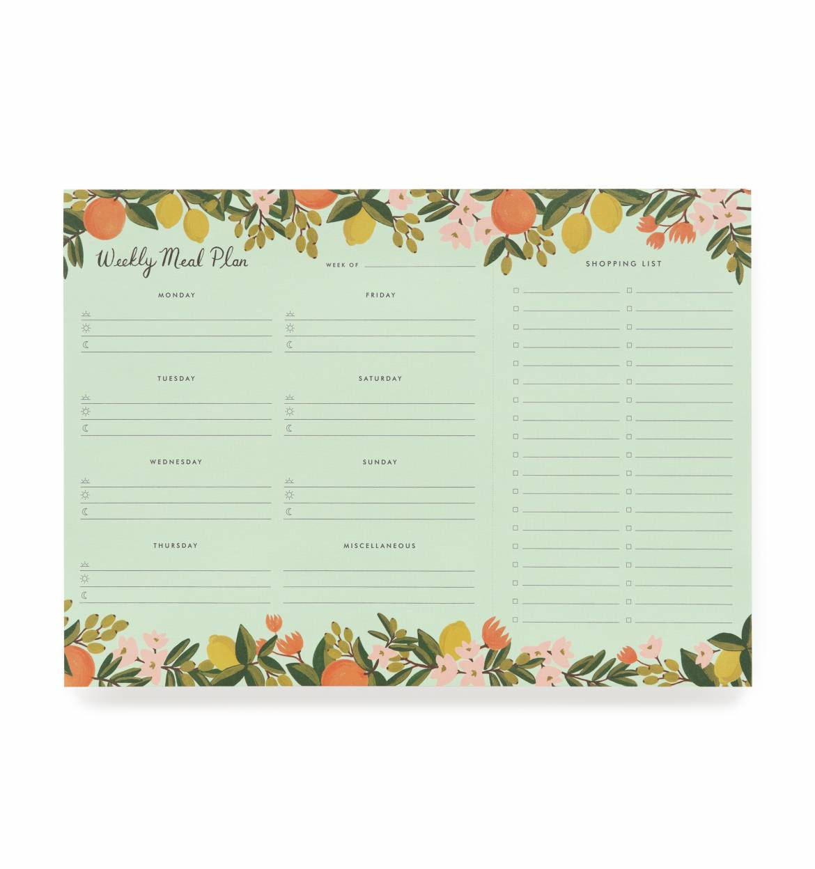 RIFLE - Citrus floral weekly meal planner