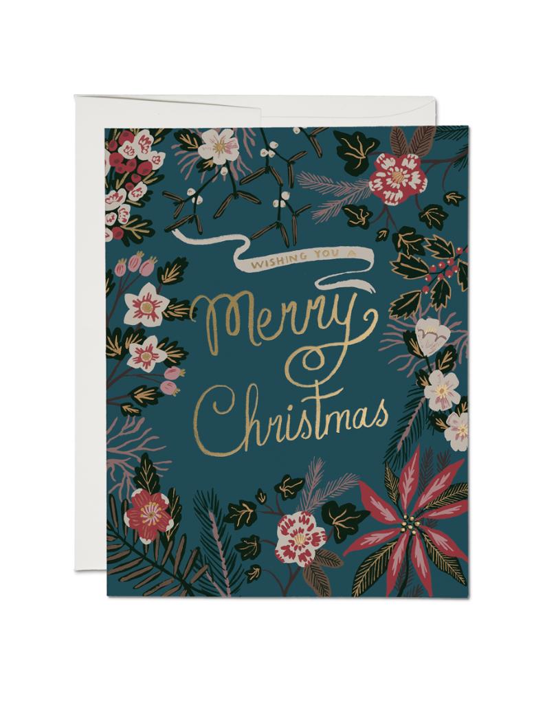 RED CAP - Kort, Blå Merry christmas