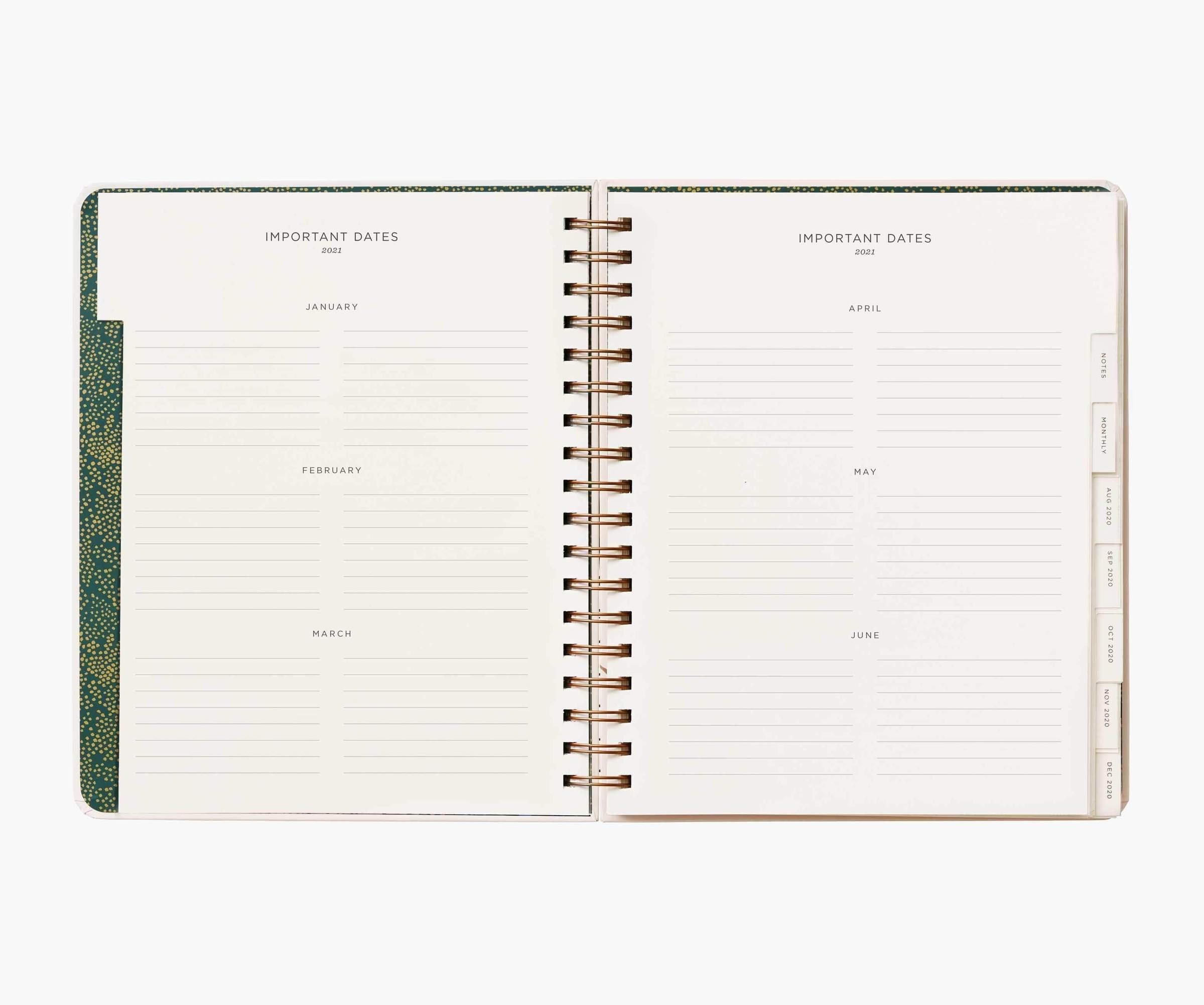 RIFLE - 2021 WILD GARDEN SPIRAL 17 month planner
