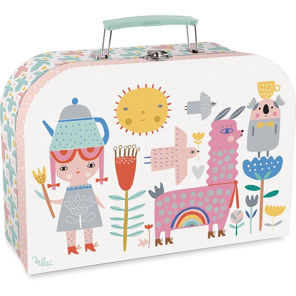 Tesett i koffert, blomar