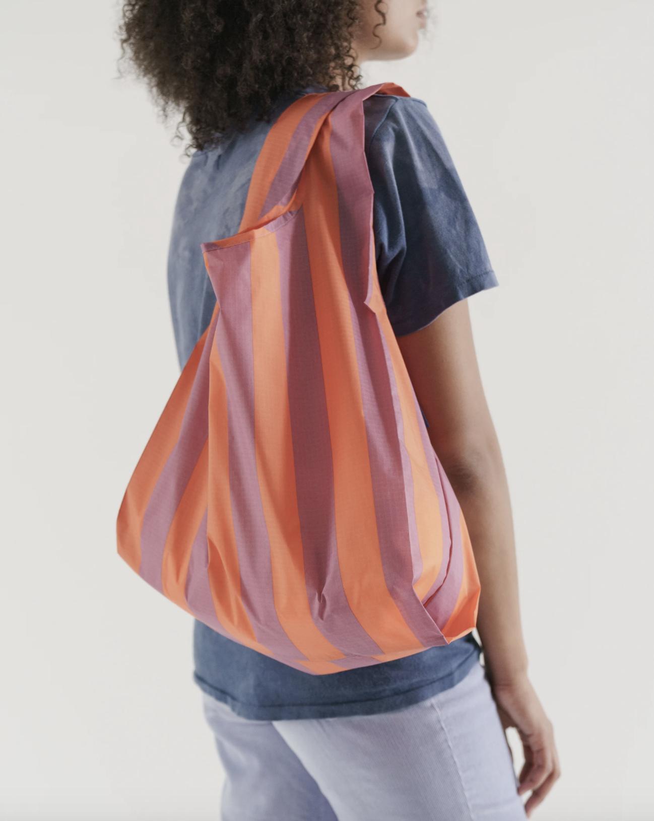 BAGGU - Stripe-Orange and Mauve