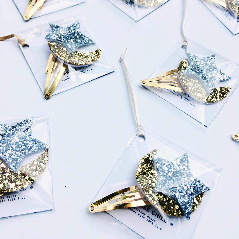 SPARKLE CHILD - Moon & star hair clips