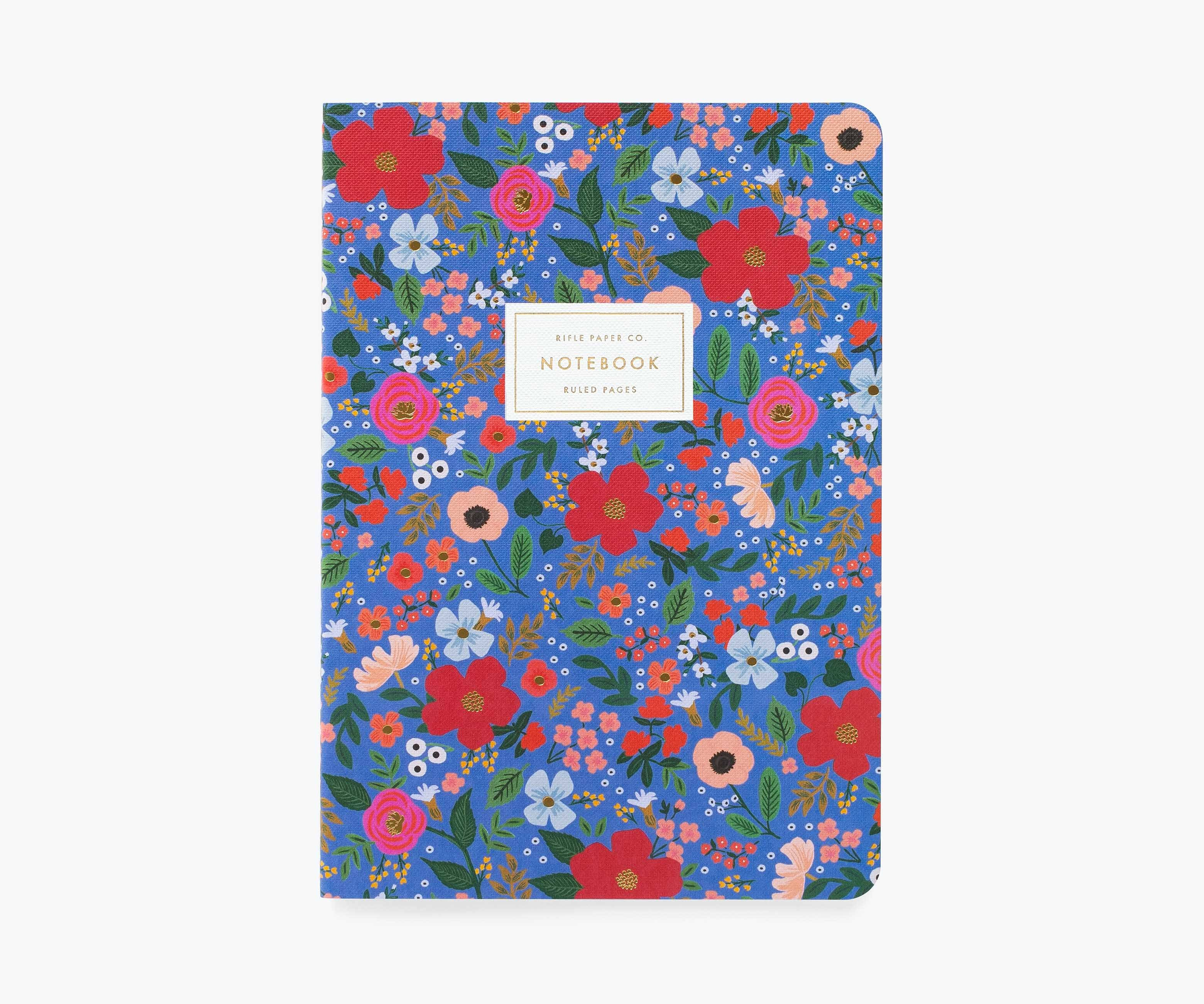 RIFLE - Wild Rose Stitched Notebook, Blue