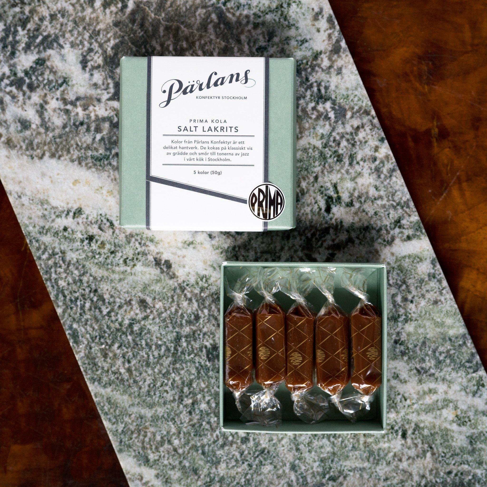 Pärlans - 5 stk karamell med salt lakris