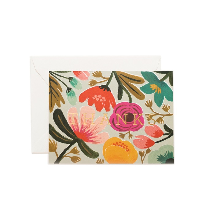 RIFLE - Kort, Gold Floral Thanks Card