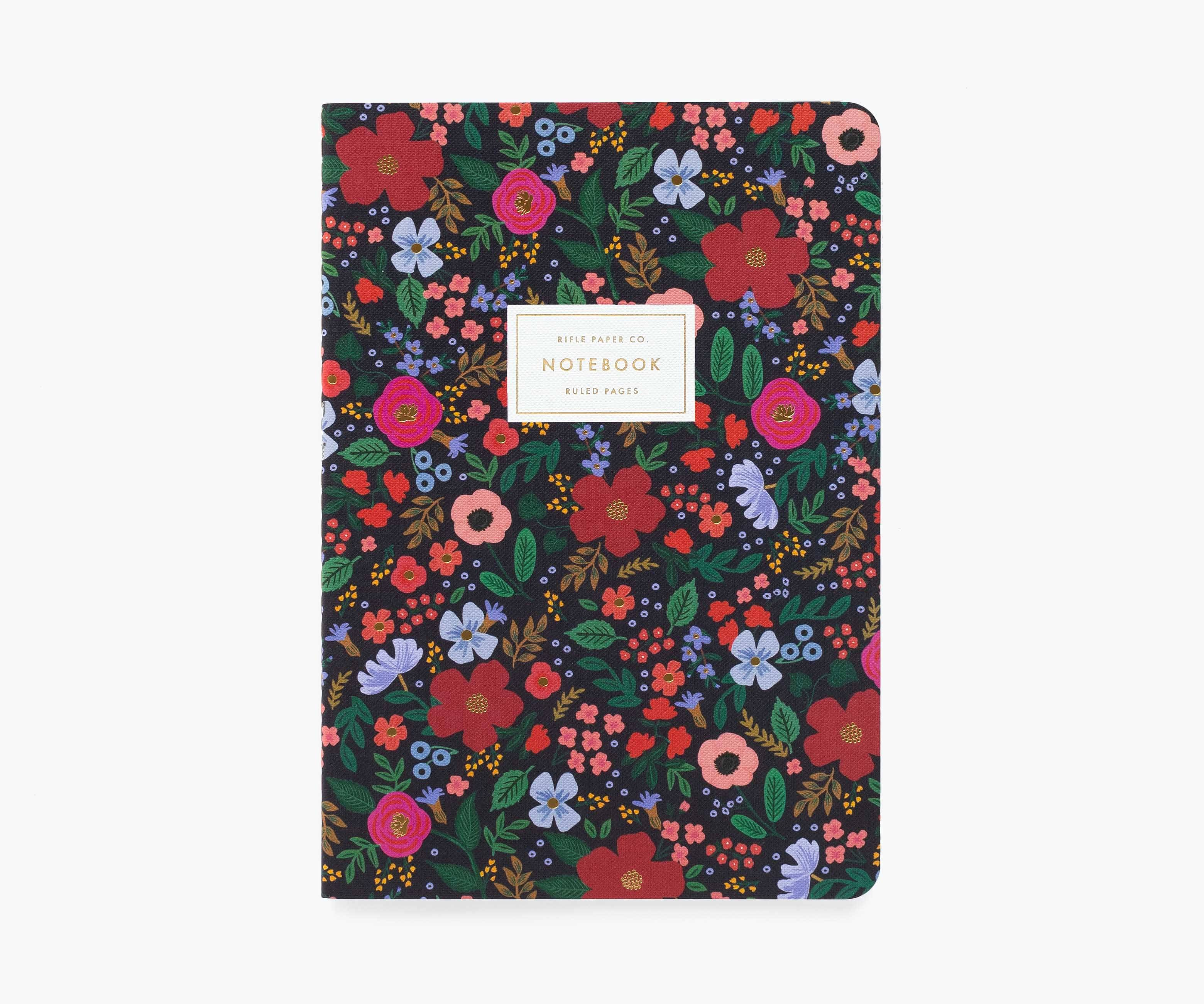 RIFLE - Wild Rose Stitched Notebook, Black