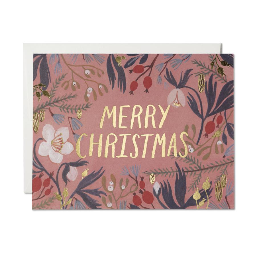 RED CAP - Kort, Rosa Merry Christmas