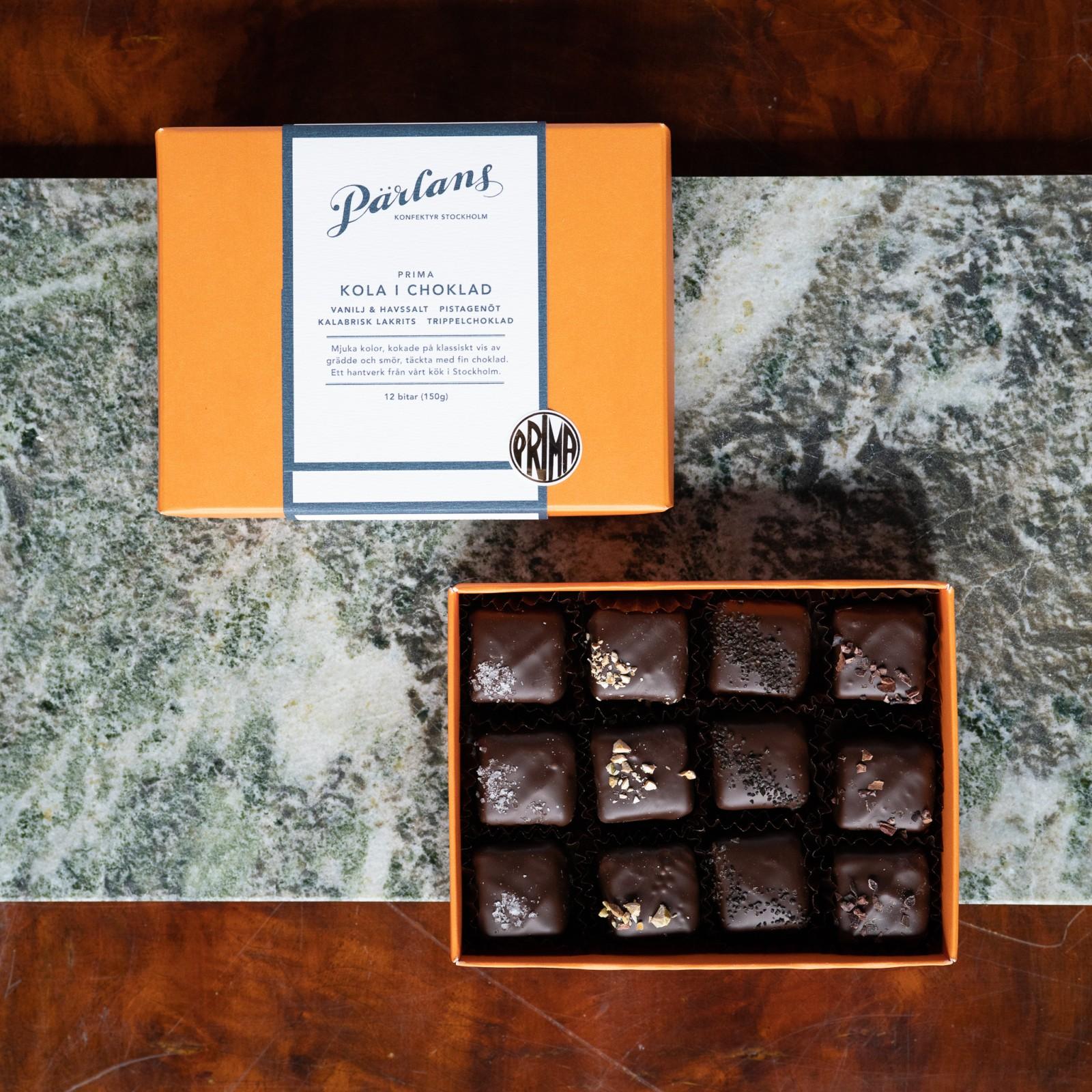 PÄRLANS - Karamell i sjokolade, 12 bitar i gåveøskje