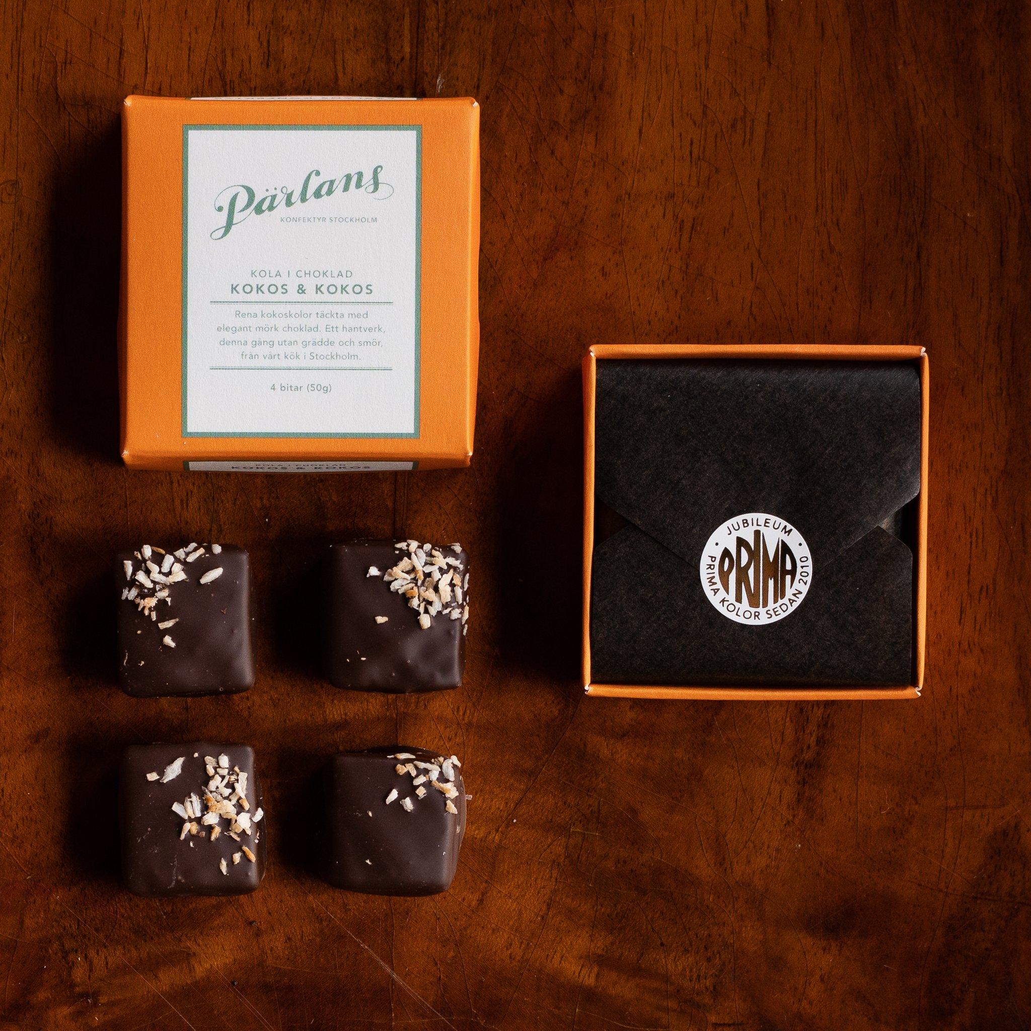 Pärlans - VEGANSK karamell i sjokolade - KOKOS & KOKOS 4 bitar
