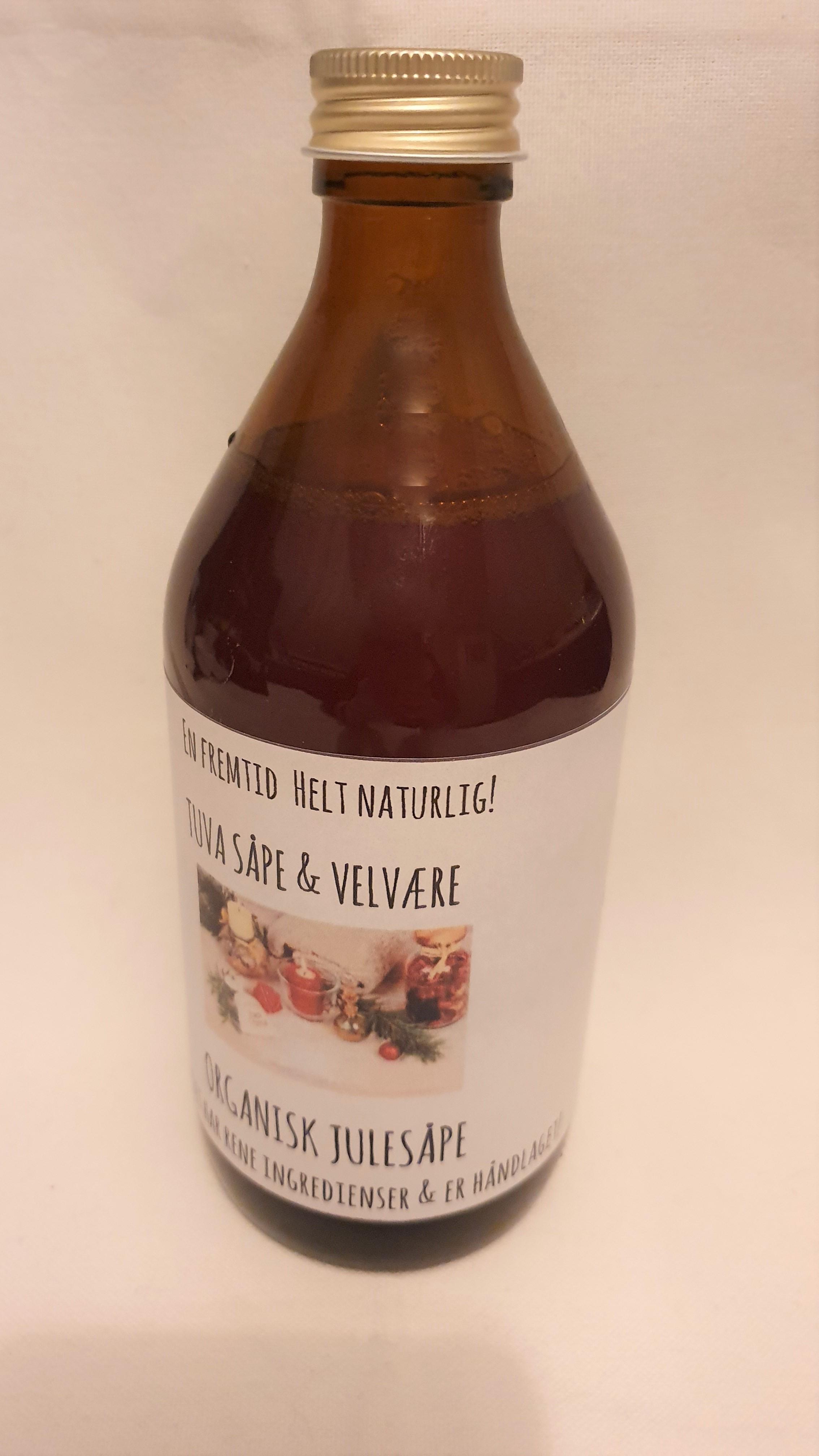 Glassflaske med Organisk Julesåpe  Appelsin & Kanel