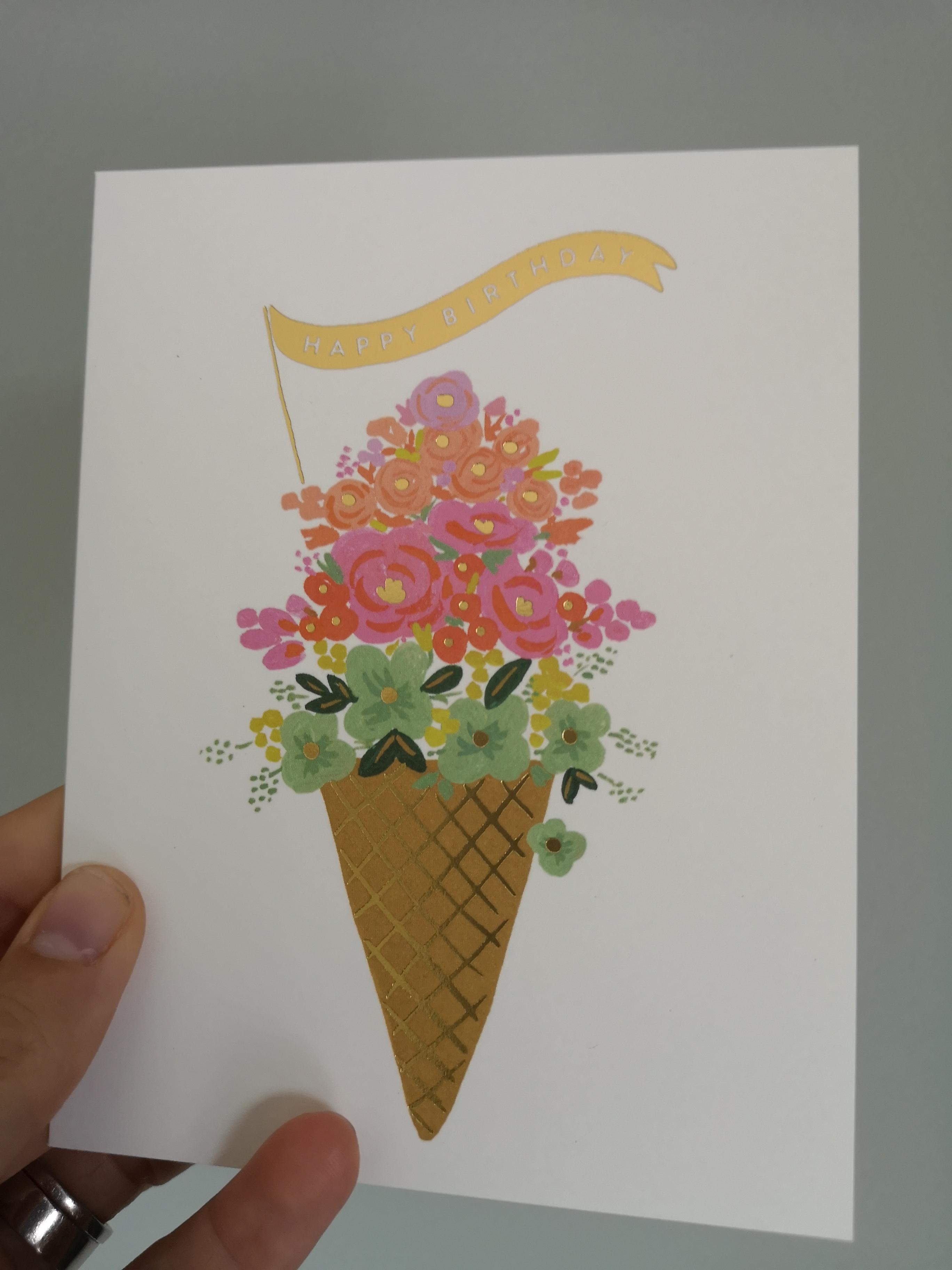 Gratulationskort - Happy Birthday Ice cream