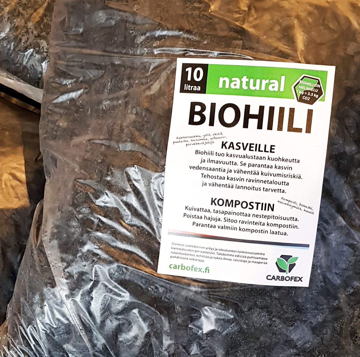 Biohiili natural 10 litraa
