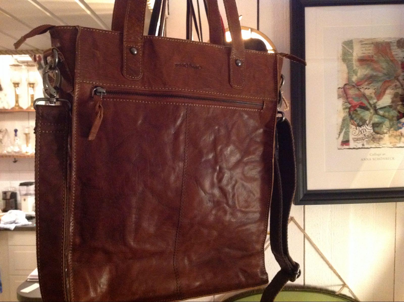 Väska brun läder (second hand)