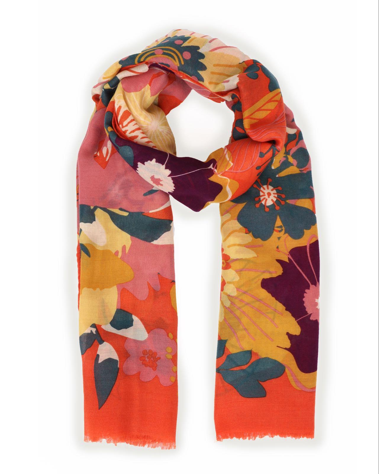 Powder modern floral scarf in tangerine