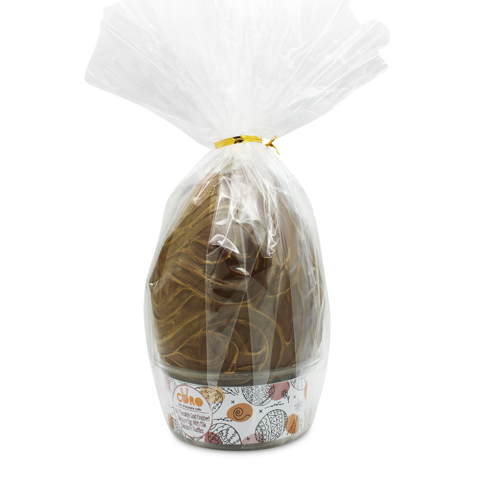 15cm Gold decorated Milk Choc Egg with Milk Truffles
