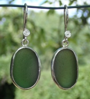 ES34 Eco-silver Sea Glass Earrings from Seaham in Forest Green Sea Glass