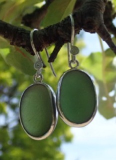 ES34 Sea Glass Earrings from Seaham in Forest Green Sea Glass