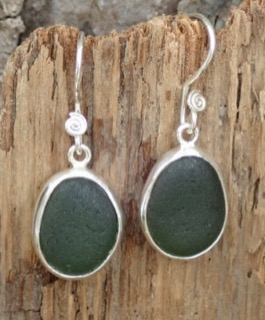 ES30 Eco-silver Sea Glass Earrings from Seaham in Forest Green Sea Glass