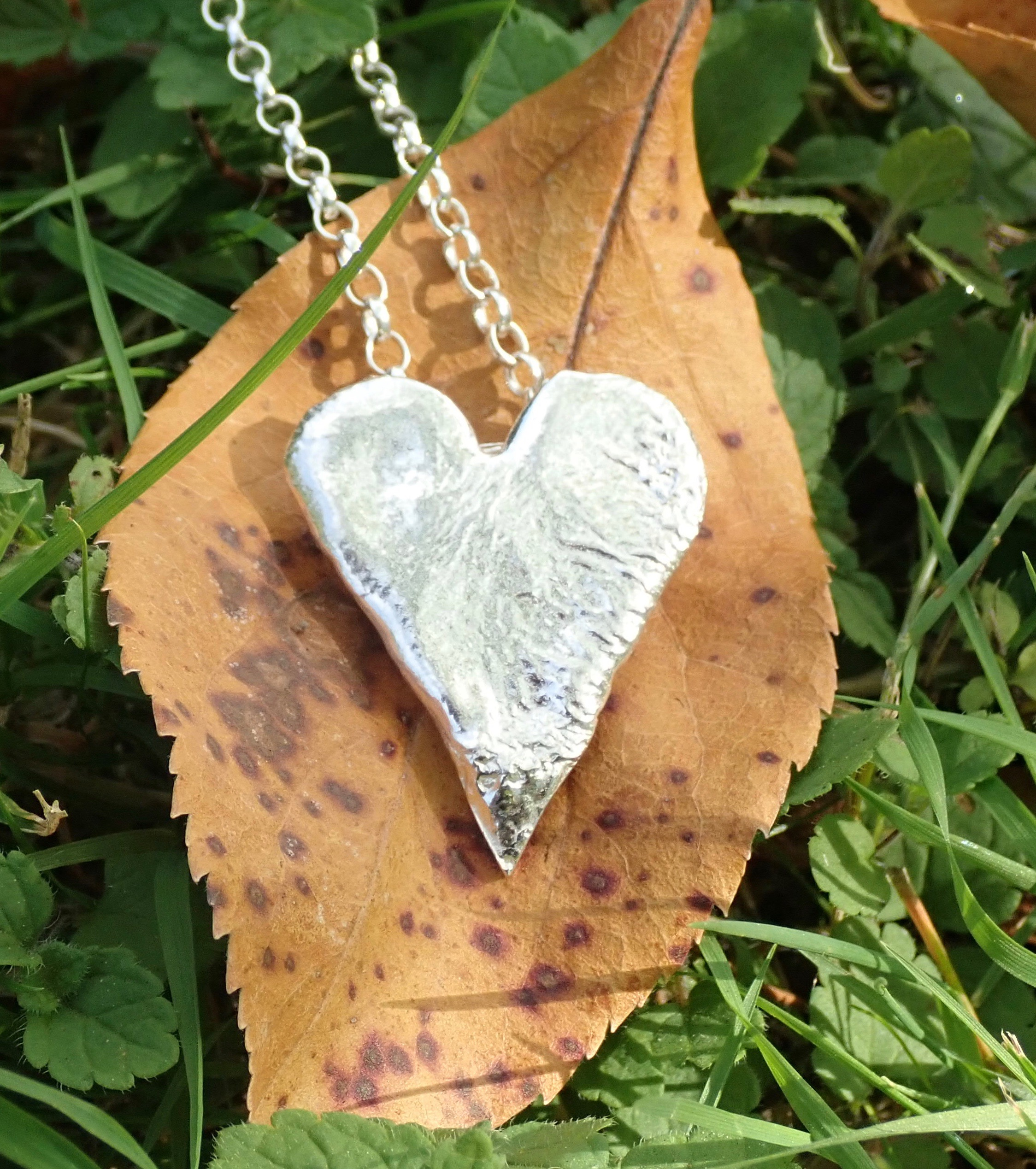 Sea Ripple Heart Pendant in Eco-silver