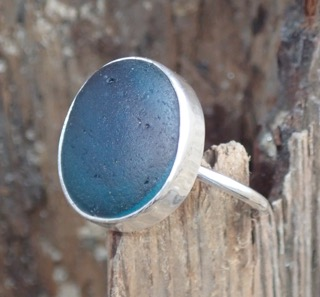 RE180 Eco-silver Sea Glass Ring Multi Dark Teal Blues UK R 1/2