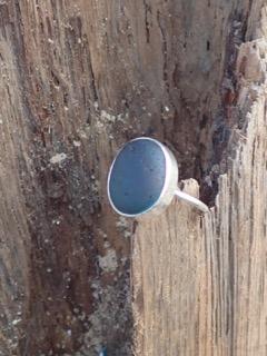 RE180 Eco-silver Sea Glass Ring Multi Dark Teal Blues UK R 1/2