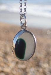 PE110 Eco-silver Sea Glass Pendant Seaham Multi Green and White