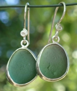 ES35 Eco-silver Sea Glass Earrings from Seaham in Forest Green Sea Glass