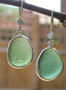 ES35 Sea Glass Earrings from Seaham in Forest Green Sea Glass