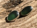 EST25 Eco-silver Sea Glass Earrings Seaham with Forest Green Sea Glass