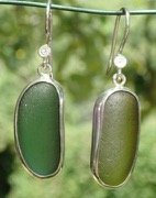 ES33 Eco-silver Sea Glass Earrings from Seaham in Forest Green and Olive Yellow Sea Glass