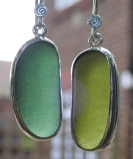 ES33 Sea Glass Earrings from Seaham in Forest Green and Olive Yellow Sea Glass