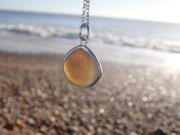 PE83 Eco-silver Sea Glass Pendant Seaham Multi Browns/white