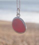 PE96 Eco-silver Sea Glass Pendant Seaham Red