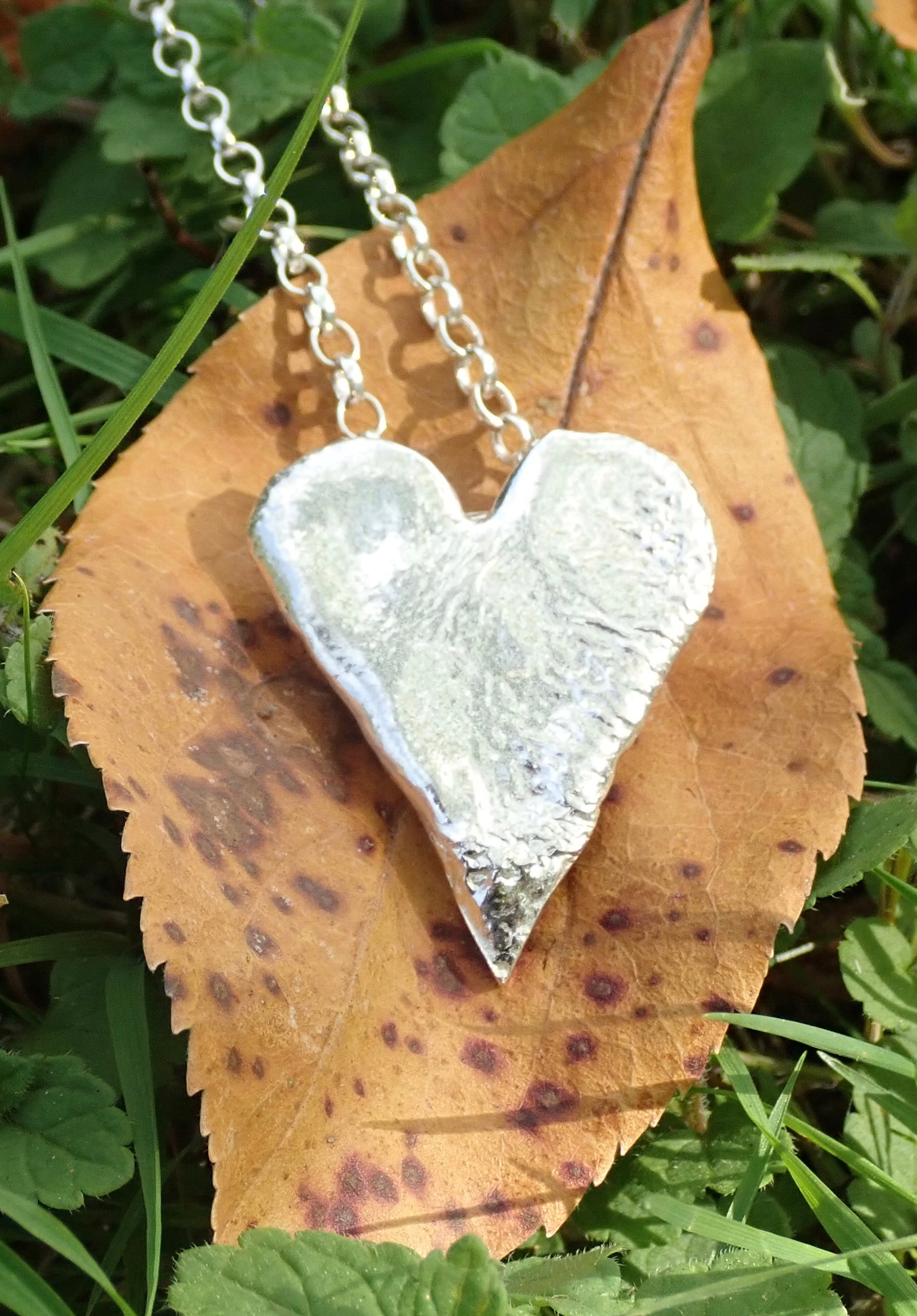 Sea Ripple Pendants in Eco-silver (Elongated and Hearts)
