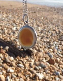 PE81 Eco-silver Sea Glass pendant Seaham Multi Browns/White