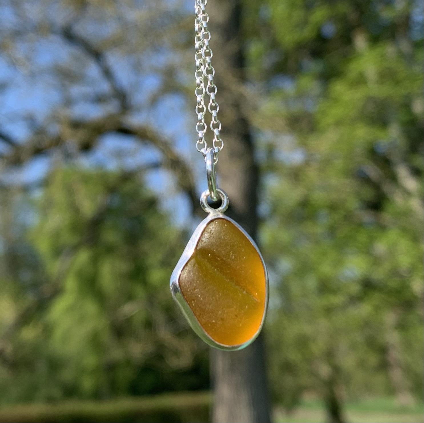 PE125 Eco-silver Orange Seaham Sea Glass Pendant