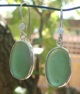 ES41 Sea Glass Earrings from Seaham in Forest Green Sea Glass