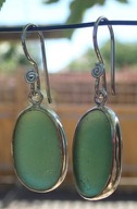 ES41 Eco-silver Sea Glass Earrings from Seaham in Forest Green Sea Glass