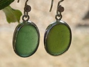 ES36 Sea Glass Earrings from Seaham in Forest and Olive Green Sea Glass